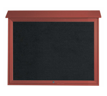 "Aarco Products PLD3645TL-7 Rosewood Top Hinged Single Door Plastic Lumber Message Center with Letter Board 36"" x 45"""
