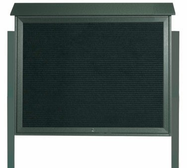"Aarco Products PLD3645TLDPP-4 Green Top Hinged Single Door Plastic Lumber Message Center with Letter Board- Posts Included, 36"" x 45"""