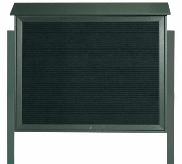 """Aarco Products PLD3645TLDPP-4 Green Top Hinged Single Door Plastic Lumber Message Center with Letter Board- Posts Included, 36"""" x 45"""""""