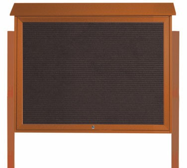 """Aarco Products PLD3645TLDPP-5 Cedar Top Hinged Single Door Plastic Lumber Message Center with Letter Board- Posts Included, 36"""" x 45"""""""