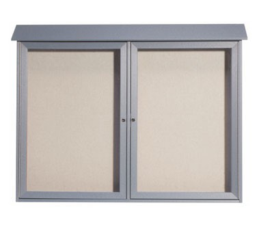 """Aarco Products PLD4052-2-2 Light Grey Two Hinged Doors Plastic Lumber Message Center with Vinyl Posting Surface 40"""" x 52"""""""