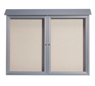 "Aarco Products PLD4052-2-2 Light Grey Two Hinged Doors Plastic Lumber Message Center with Vinyl Posting Surface 40"" x 52"""