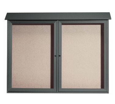 """Aarco Products PLD4052-2-4 Green Two Hinged Doors Plastic Lumber Message Center with Vinyl Posting Surface 40"""" x 52"""""""