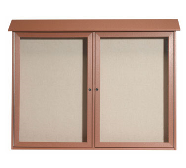 "Aarco Products PLD4052-2-5 Cedar Two Hinged Doors Plastic Lumber Message Center with Vinyl Posting Surface 40"" x 52"""