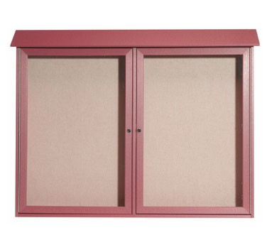 """Aarco Products PLD4052-2-7 Rosewood Two Hinged Doors Plastic Lumber Message Center with Vinyl Posting Surface 40"""" x 52"""""""