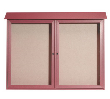 "Aarco Products PLD4052-2-7 Rosewood Two Hinged Doors Plastic Lumber Message Center with Vinyl Posting Surface 40"" x 52"""