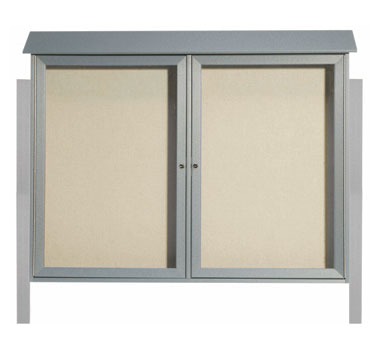 Aarco Products PLD4052-2DPP-2 Light Grey Two Hinged Doors Plastic Lumber Message Center w / Vinyl Posting Surface, Posts 40