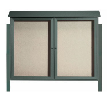 """Aarco Products PLD4052-2DPP-4 Green Two Hinged Doors Plastic Lumber Message Center with Vinyl Posting Surface- Posts Included, 40"""" x 52"""""""