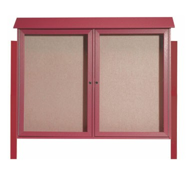 """Aarco Products PLD4052-2DPP-7 Rosewood Two Hinged Doors Plastic Lumber Message Center with Vinyl Posting Surface- Posts Included, 40"""" x 52"""""""