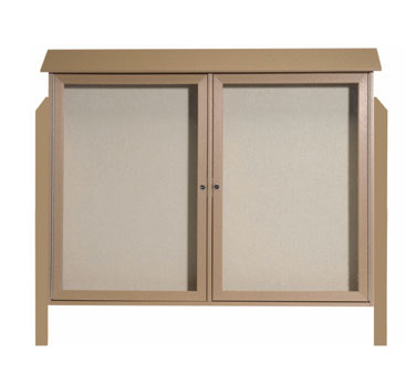 Aarco Products PLD4052-2DPP-8 Weathered Wood Two Hinged Doors Plastic Lumber Message Center w / Vinyl Posting Surface, Posts 40