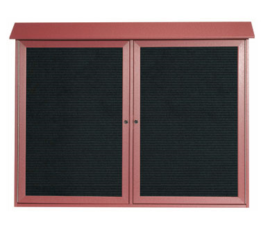 "Aarco Products PLD4052-2L-7 Rosewood Two Hinged Doors Plastic Lumber Message Center with Letter Board 40"" x 52"""