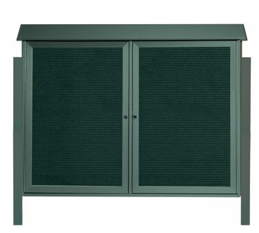 """Aarco Products PLD4052-2LDPP-4 Green Two Hinged Doors Plastic Lumber Message Center with Letter Board- Posts Included, 40"""" x 52"""""""