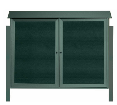 "Aarco Products PLD4052-2LDPP-4 Green Two Hinged Doors Plastic Lumber Message Center with Letter Board- Posts Included, 40"" x 52"""