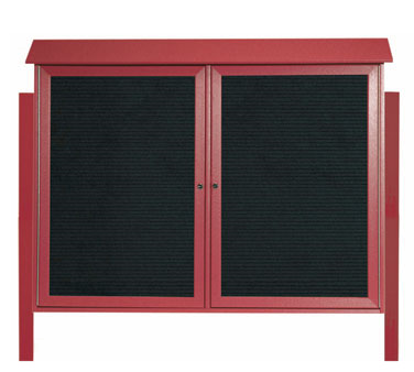 "Aarco Products PLD4052-2LDPP-7 Rosewood Two Hinged Doors Plastic Lumber Message Center with Letter Board - Posts Included, 40"" x 52"""
