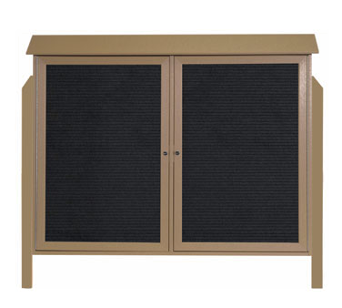 """Aarco Products PLD4052-2LDPP-8 Weathered Wood Two Hinged Doors Plastic Lumber Message Center with Letter Board - Posts Included, 40"""" x 52"""""""