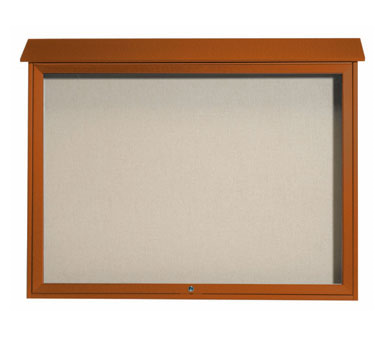 "Aarco Products PLD4052T-5 Cedar Top Hinged Single Door Plastic Lumber Message Center with Vinyl Posting Surface 40"" x 52"""