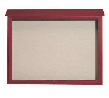 "Aarco Products PLD4052T-7 Rosewood Top Hinged Single Door Plastic Lumber Message Center with Vinyl Posting Surface 40"" x 52"""