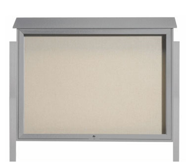 Aarco Products PLD4052TDPP-2 Light Grey Top Hinged Single Door Plastic Lumber Message Center w / Vinyl Posting Surface, Posts 40