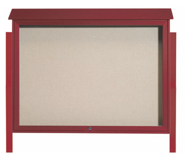 Aarco Products PLD4052TDPP-7 Rosewood Top Hinged Single Door Plastic Lumber Message Center w / Vinyl Posting Surface, Posts 40