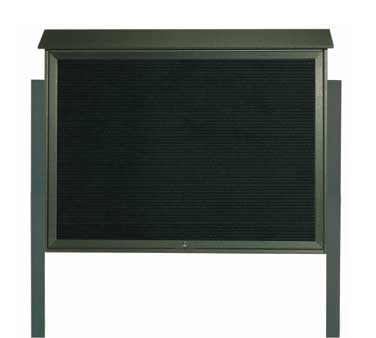 "Aarco Products PLD4052TLDPP-4 Green Top Hinged Single Door Plastic Lumber Message Center with Letter Board- Posts Included, 40"" x 52"""