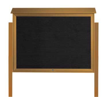 """Aarco Products PLD4052TLDPP-5 Cedar Top Hinged Single Door Plastic Lumber Message Center with Letter Board- Posts Included, 40"""" x 52"""""""
