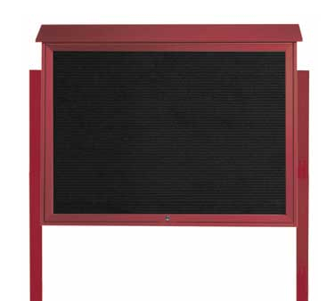 "Aarco Products PLD4052TLDPP-7 Rosewood Top Hinged Single Door Plastic Lumber Message Center with Letter Board- Posts Included, 40"" x 52"""