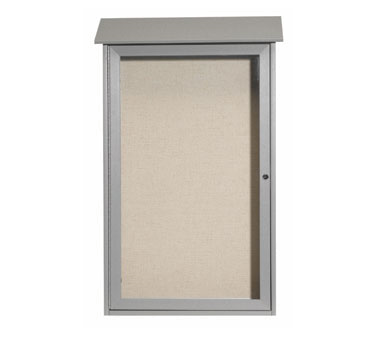 "Aarco Products PLD4226-2 Light Grey Single Hinged Door Plastic Lumber Message Center with Vinyl Posting Surface 42"" x 26"""