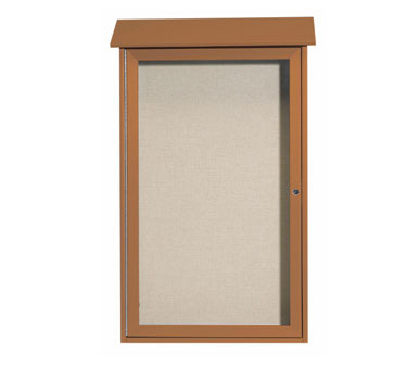 "Aarco Products PLD4226-5 Cedar Single Hinged Door Plastic Lumber Message Center with Vinyl Posting Surface 42"" x 26"""