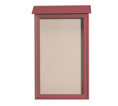 "Aarco Products PLD4226-7 Rosewood Single Hinged Door Plastic Lumber Message Center with Vinyl Posting Surface 42"" x 26"""