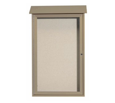 """Aarco Products PLD4226-8 Weathered Wood Single Hinged Door Plastic Lumber Message Center with Vinyl Posting Surface 42"""" x 26"""""""