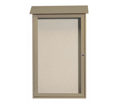 "Aarco Products PLD4226-8 Weathered Wood Single Hinged Door Plastic Lumber Message Center with Vinyl Posting Surface 42"" x 26"""