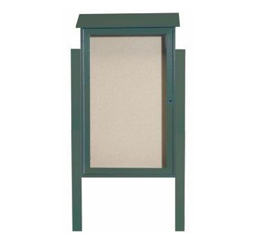 "Aarco Products PLD4226DPP-4 Green Single Hinged Door Plastic Lumber Message Center with Vinyl Posting Surface - Posts Included, 42"" x 26"""