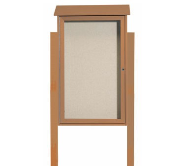 """Aarco Products PLD4226DPP-5 Cedar Single Hinged Door Plastic Lumber Message Center with Vinyl Posting Surface - Posts Included, 42"""" x 26"""""""