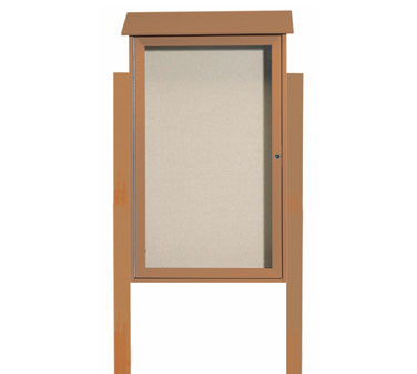 "Aarco Products PLD4226DPP-5 Cedar Single Hinged Door Plastic Lumber Message Center with Vinyl Posting Surface - Posts Included, 42"" x 26"""