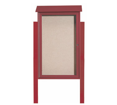 Aarco Products PLD4226DPP-7 Rosewood Single Hinged Door Plastic Lumber Message Center w / Vinyl Posting Surface, Posts 42