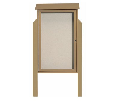 Aarco Products PLD4226DPP-8 Weathered Wood Single Hinged Door Plastic Lumber Message Center w / Vinyl Posting Surface, Posts 42