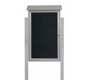 """Aarco Products PLD4226LDPP-2 Light Grey Single Hinged Door Plastic Lumber Message Center with Letter Board- Posts Included, 42"""" x 26"""""""