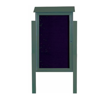 "Aarco Products PLD4226LDPP-4 Green Single Hinged Door Plastic Lumber Message Center with Letter Board- Posts Included, 42"" x 26"""