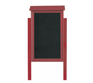 "Aarco Products PLD4226LDPP-7 Rosewood Single Hinged Door Plastic Lumber Message Center with Letter Board- Posts Included, 42"" x 26"""