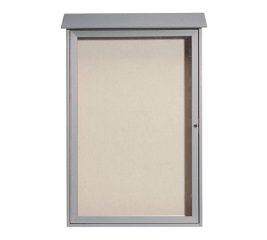 "Aarco Products PLD4832-2 Light Grey Single Hinged Door Plastic Lumber Message Center with Vinyl Posting Surface 48"" x 32"""
