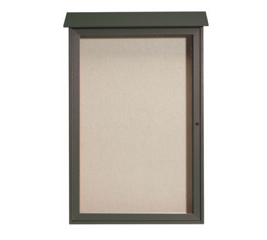 "Aarco Products PLD4832-4 Green Single Hinged Door Plastic Lumber Message Center with Vinyl Posting Surface 48"" x 32"""