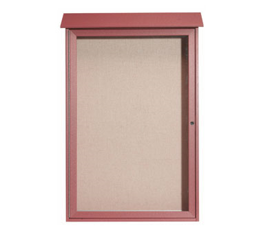 "Aarco Products PLD4832-7 Rosewood Single Hinged Door Plastic Lumber Message Center with Vinyl Posting Surface 48"" x 32"""