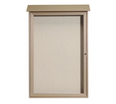 """Aarco Products PLD4832-8 Weathered Wood Single Hinged Door Plastic Lumber Message Center with Vinyl Posting Surface 48"""" x 32"""""""