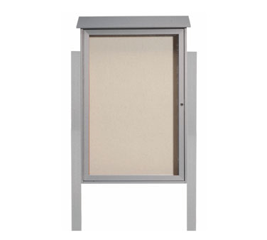 Aarco Products PLD4832DPP-2 Light Grey Single Hinged Door Plastic Lumber Message Center w / Vinyl Posting Surface, Posts 48