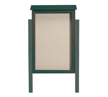 """Aarco Products PLD4832DPP-4 Green Single Hinged Door Plastic Lumber Message Center with Vinyl Posting Surface - Posts Included, 48"""" x 32"""""""