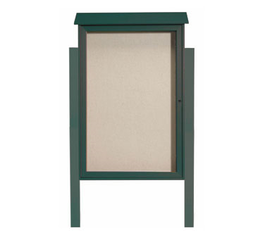 "Aarco Products PLD4832DPP-4 Green Single Hinged Door Plastic Lumber Message Center with Vinyl Posting Surface - Posts Included, 48"" x 32"""