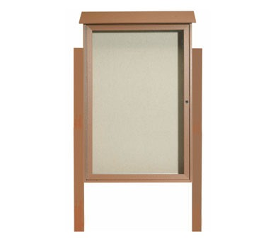 """Aarco Products PLD4832DPP-5 Cedar Single Hinged Door Plastic Lumber Message Center with Vinyl Posting Surface- Posts Included, 48"""" x 32"""""""