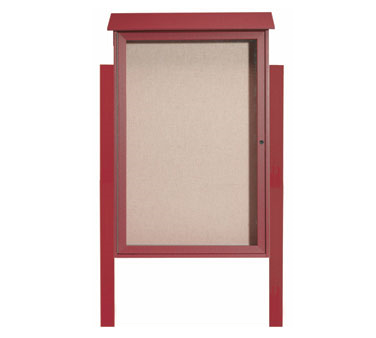 "Aarco Products PLD4832DPP-7 Rosewood Single Hinged Door Plastic Lumber Message Center with Vinyl Posting Surface- Posts Included, 48"" x 32"""