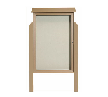 Aarco Products PLD4832DPP-8 Weathered Wood Single Hinged Door Plastic Lumber Message Center w / Vinyl Posting Surface, Posts 48
