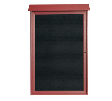 "Aarco Products PLD4832L-7 Rosewood Single Hinged Door Plastic Lumber Message Center with Letter Board 48"" x 32"""